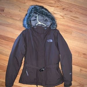 The North Face 550 Goose Down Brown Jacket W/ Hood